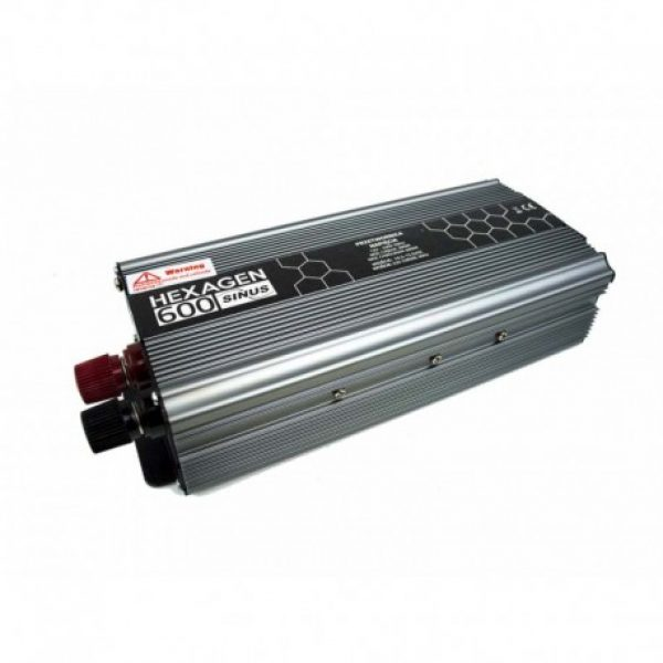 Įtampos keitiklis iš 12V į 220V 500 / 800W Sinus Hex 600-2