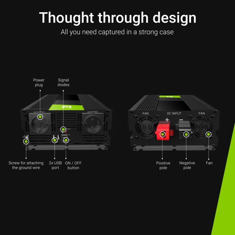 Įtampos keitiklis iš 12V į 220V 3000/6000W Sinus Greencell-4